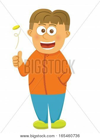 Boy Flipping Coin Cartoon Isolated on White