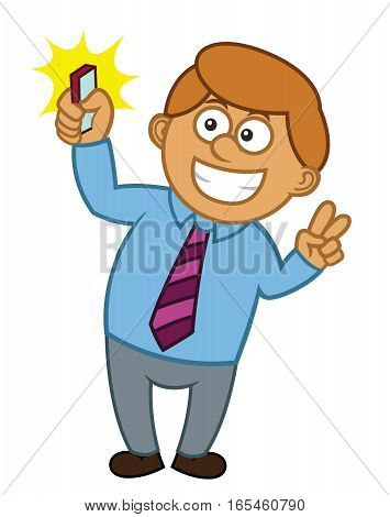 Businessman Selfie Cartoon Character. Vector Illustration Isolated on White Background.