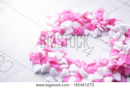 Heart Shave Sprinkles Round Valentine Date on Calendar