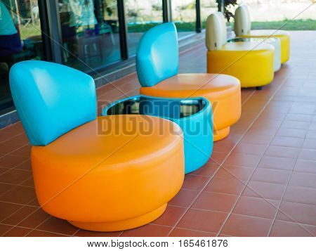 colorful of Patio Furniture set, orange, blue and yellow.