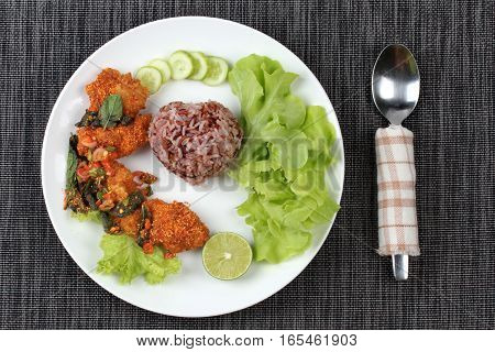 Organic Red Jasmine Rice  With Spicy Sour Fried Chicken Salad .