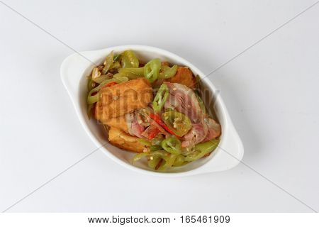 Fried Green Pepper With Tofu And Becon