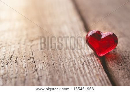 Valentine Day with Heart on Wooden Background in Vintage Tone