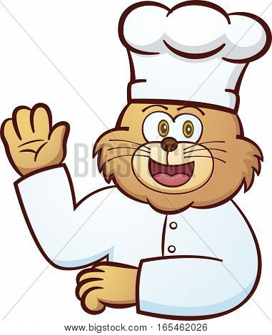 Cat Chef Waving Hand Cartoon Illustration Isolated on White