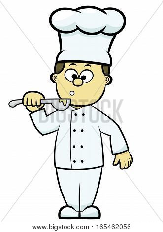 Chef Tasting Food Cartoon Isolated on White