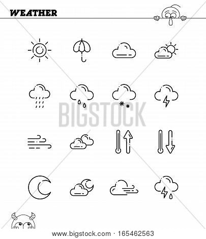 Weather flat icon set. Collection of high quality outline symbols for web design, mobile app. Vector thin line icons or logo of weather