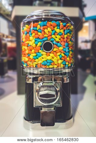 Candy Machine in the mall with Blur Background