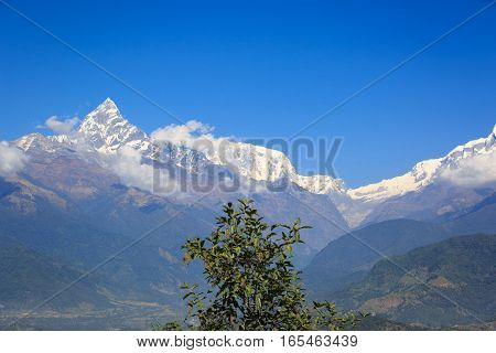 machhapuchhre landscape under blue sky in nepal