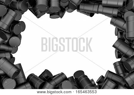 3d rendering frame of black oil barrels situated around white background. 3d rendering and backgrounds. Oil inductry. Computer graphics