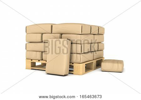 3d rendering of large paper bags on pallet isolated on the white background. Building industry. Building materials. Transportation of materials.