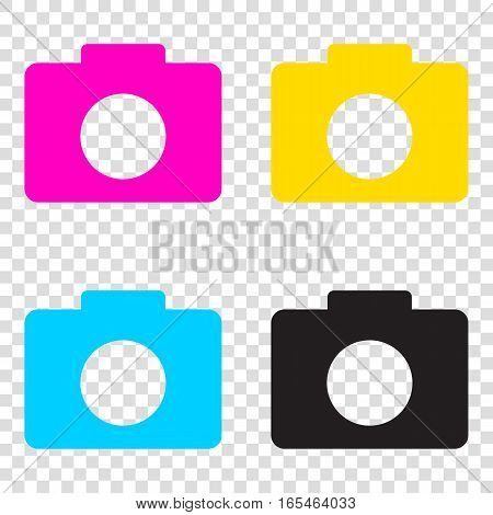 Digital Camera Sign. Cmyk Icons On Transparent Background. Cyan,