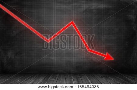 Downwards glowing red arrow on grey statistic grid background. Business and finance. Profit and loss. Counting money.