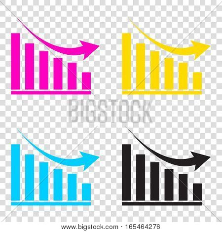 Declining Graph Sign. Cmyk Icons On Transparent Background. Cyan