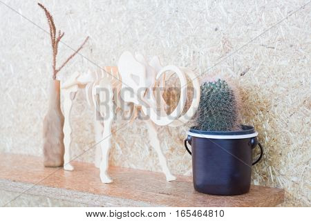 Cork shelf decorated with colorful ornament stock photo