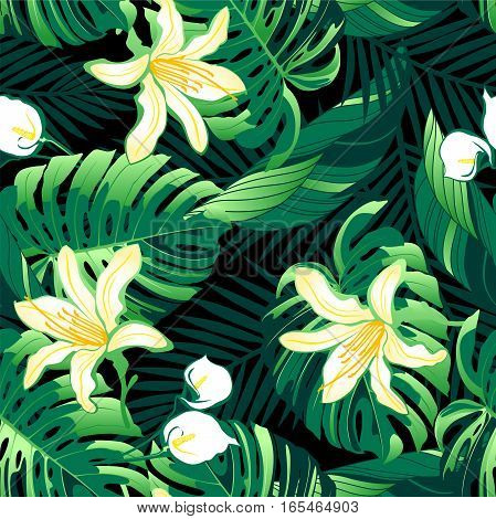 Tropical lush yellow flowers seamless pattern .