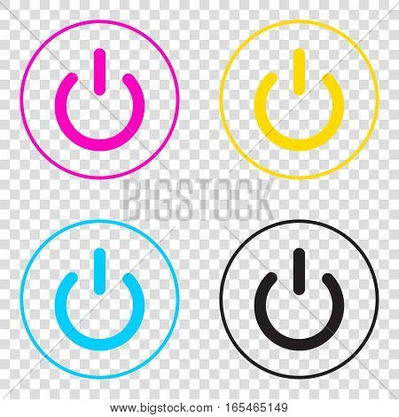 On Off Switch Sign. Cmyk Icons On Transparent Background. Cyan,