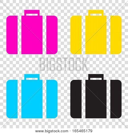 Briefcase Sign Illustration. Cmyk Icons On Transparent Backgroun