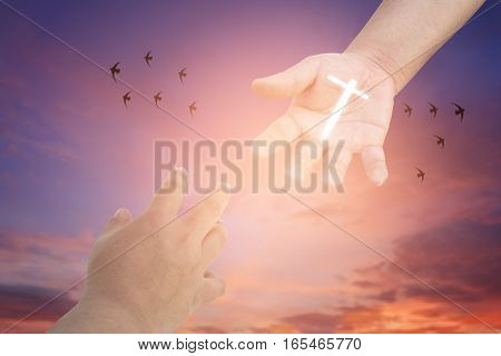 Reaching hands. Concept for rescue friendship faith and belief of religious conceptual support and kindness of friendship forgiveness and blessing conception. love/heal/treat of god. christian worship concept background. poster