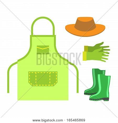 Blank apron isolated on white background. Domestic preparation bake pocket female fashion protection. Vector clothes wear culinary fabric accessory.