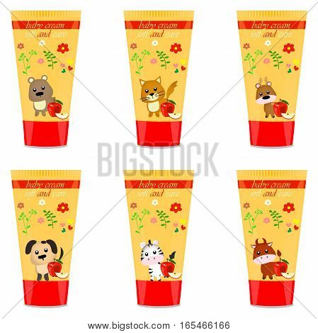 High quality original trendy vector Baby cream tube with kids design and bull illustration