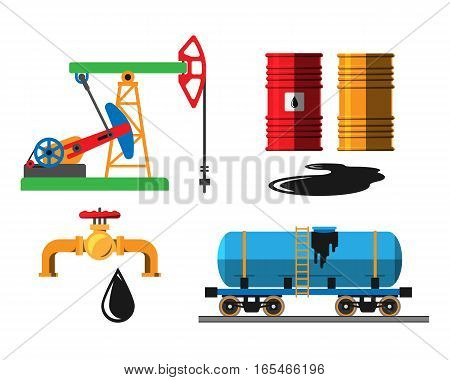 Set of oil industry production transportation extracting cartoon icons vector illustration. Energy processing platform. Petroleum container technology design.