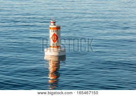 Regulatory marker for boats to keep out.
