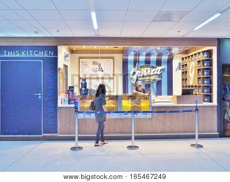 Bangkok, Thailand - June 5,2016: Garrett Popcorn Shop at Don Mueang International Airport in Bangkok, Thailand. Garrett Popcorn opened up their first shop in 1949 at 10 West Madison Street in Chicago.