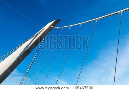 SAN DIEGO, CALIFORNIA - JANUARY 8, 2017:  Architectural detail of the Harbor Drive self-anchored suspension bridge, located near the San Diego Convention Center and Petco Park.