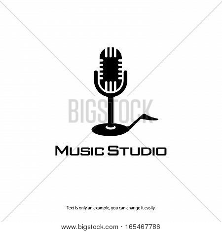 Microphone and note icon for radios and music record studios. Broadcasting vector logo.