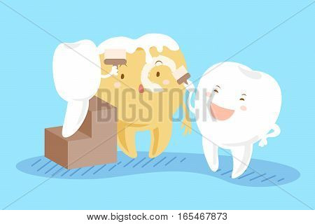 cartoon tooth painting his friend with teeth whitening concept