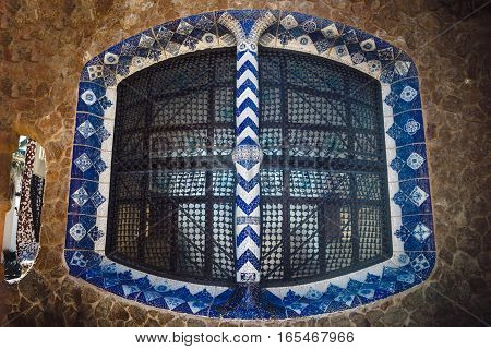 Barcelona, Spain - April 23, 2016: Details Of Window In Park Guell By Architect Antoni Gaudi