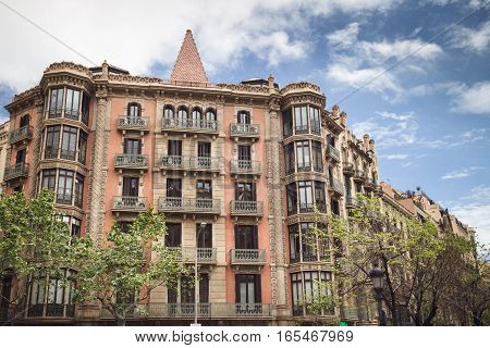 Barcelona, Spain - April 21, 2016: Architecture Of Barcelona. Traveling In Europe