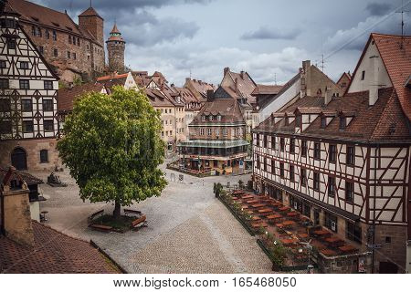 Nuremberg, Germany - April 26, 2016: Old Town Of Nuremberg Over Pegnitz, Bavaria.