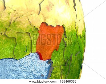 Nigeria In Red On Earth
