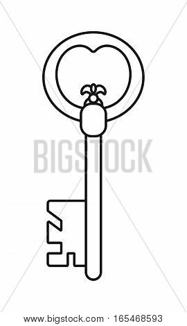 Vintage antique key, contoured silhouette isolated on white background. Vector illustration