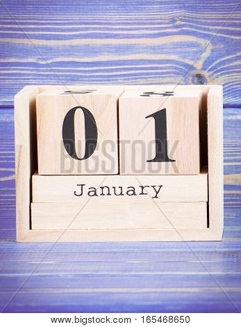 January 1St. Date Of 1 January On Wooden Cube Calendar