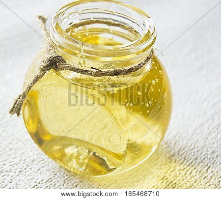 invert syrup in a glass container honey in a glass jar