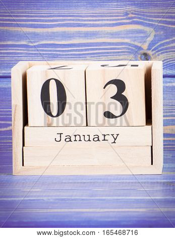 January 3Rd. Date Of 3 January On Wooden Cube Calendar