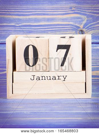 January 7Th. Date Of 7 January On Wooden Cube Calendar