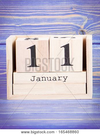 January 11Th. Date Of 11 January On Wooden Cube Calendar
