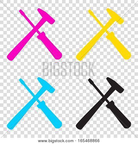 Tools Sign Illustration. Cmyk Icons On Transparent Background. C