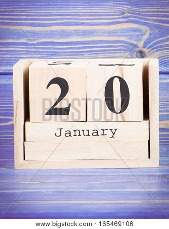 January 20Th. Date Of 20 January On Wooden Cube Calendar