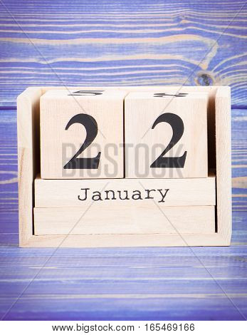 January 22Th. Date Of 22 January On Wooden Cube Calendar