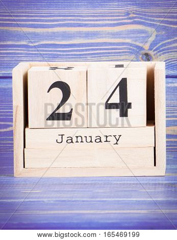 January 24Th. Date Of 24 January On Wooden Cube Calendar