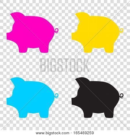 Pig Money Bank Sign. Cmyk Icons On Transparent Background. Cyan,