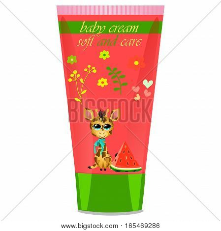 High quality original trendy vector Baby cream tube with kids design and giraffe, illustration