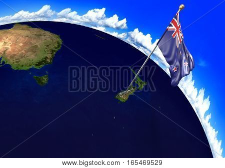New Zealand national flag marking the country location on world map. 3D rendering, parts of this image furnished by NASA