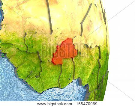 Burkina Faso In Red On Earth
