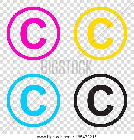 Copyright Sign Illustration. Cmyk Icons On Transparent Backgroun