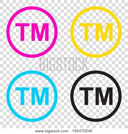 Trade Mark Sign. Cmyk Icons On Transparent Background. Cyan, Mag